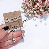 Orecchini lunghi S925 orecchini pendenti in argento sterling temperato perla grigio argento orecchini nappa