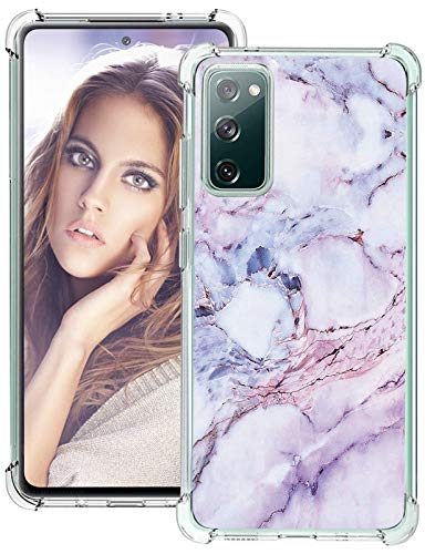 S20 FE 5G Silikon Hülle Kompatibel mit Samsung Galaxy S20 FE 5G/4G hülle Silikon Transparent Marmor Muster Galaxy S20 Fan Edition/S20 Lite Handyhülle Schutzhülle 360 Grad Bumper Stoßfest