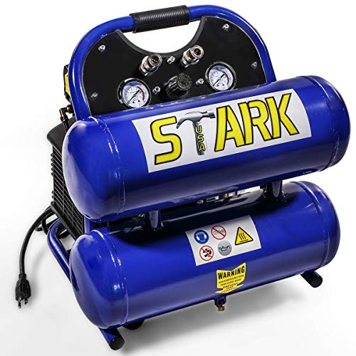 Stark Portable Twin Stack Air Compressor 8-Gallons Dual Stack 3.5hp Light & Quiet 115PSI w/Wheel
