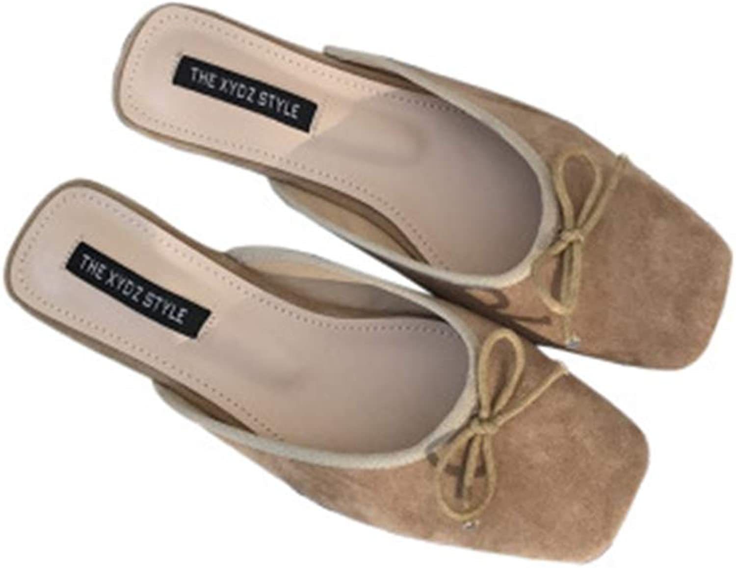 Velvet Cute Bowtie Mules for Woman Fashion Flat Casual Mules