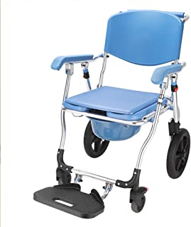 HSRG Commode Chair W/Wheels, Transport Aluminum Bath Chair with Padded Seat, for The Elderly Disabled People Pregnant Women