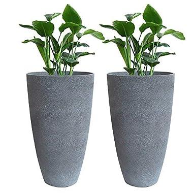 Tall Planters Set 2 Flower Pots, 20  Each, Patio Deck Indoor Outdoor Garden Resin Planters, Gray