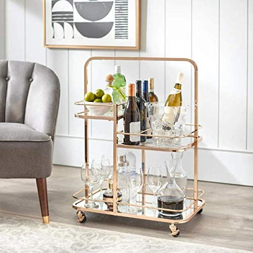 Etha- Beverage Carts for The Home- Drink Cart- Rose Gold 3-Tier Shelving Wheeled Cart