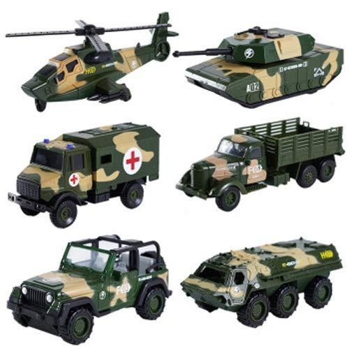 Lihgfw Boy Panzer Spielzeug Zug zurück Inertiallegierung Auto Simulation Modell Set Baby Baby Spielzeug Gepanzerte Autotechnik Fahrzeugset [Six Legoy Autos] (Color : Grün)