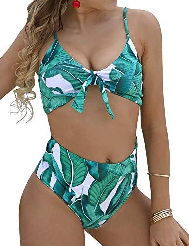 JFan Donna Costumi da Bagno Sexy Vita Alta Imbottito Reggiseno Bikini Cinturino Pettorale Due Pezzi Swimwear Abiti da Spiaggia Floreale