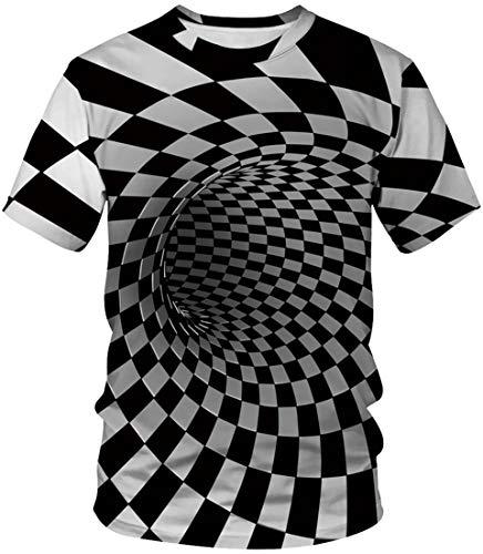 EUDOLAH Herren T-Shirts 3D Druck Bunt Galaxy Sport Rundhals Schmale Passform Motiv Tops Schwarz und weiß Karo M