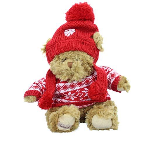 Bukowski Kuscheltier Gentil Benoit Bär Teddy mit Pullover und Mütze braun(Brown/red)