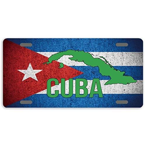 Anwei Nummernschild Kuba-Flagge Nummernschild Abdeckung Dekorative Auto Tag Schild Metall Neuheit Nummernschild 4 Löcher, 30,5 x 15,2 cm