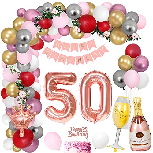Unisun 50th Birthday Party Decoration 38 Pcs for Women, Metallic Gold Silver Pink Latex Balloons, Happy Birthday Banner Balloon Crown Bottle Champagne Foil Balloons Birthday Anniversary Party Supplies
