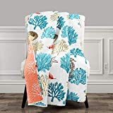 Lush Decor, Blue and Coral Coastal Reef Feather Throw Blanket, 60' x 50'