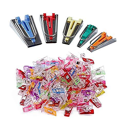 YICBOR Juego de cinta de bies para hacer 0.236in, 0.354in, 0.472in, 0.709in, 0.984in con 100 clips multiusos de colores para costura y manualidades