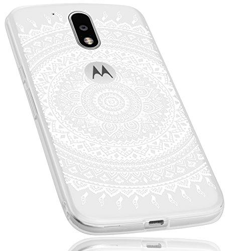 mumbi Hülle kompatibel mit Lenovo Moto G4 / G4 Plus Handy Case Handyhülle mit Motiv Mandala Weiss, transparent