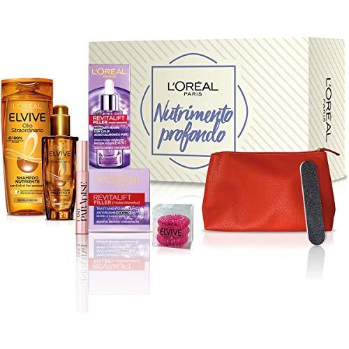 L'Oréal Paris Beauty Box Nutrimento Profondo, Include Shampoo e Trattamento Elvive Olio Straordinario, Crema Viso Giorno e Siero Revitalift Filler, Mascara Lash Paradise, Confezione da 5