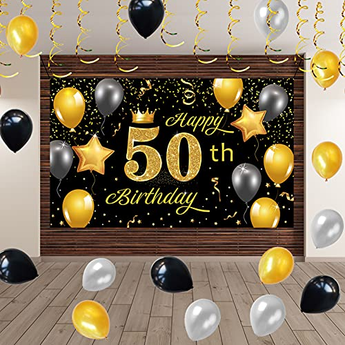 Crenics Happy 50th Birthday Party Decorations, 5.9x3.6 ft Gold Black 50th Birthday Backdrop Banner, Birthday Balloons Hanging Swirls for Men Women 50 Years Old Birthday Party Supplies