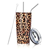 20oz Leopard Tumbler Stainless Steel Tumbler Vacuum Insulated Cheetah Animal Print Cup with Straw and Lid, Cleaning Brush for Cold and Hot Beverages
