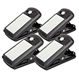 4 Pack Solar Motion Sensor Security Umbrella Light,Clip on Lights Outdoor with 40 LED,2 Modes 2 Mounting Ways Wireless Waterproof for Patio Wall Garage Hiking Camp Tent Portable Emergency Lighting