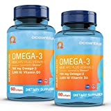 Oceanblue Omega-3 Minicaps with Vitamin D3 – 60 ct, 2-Pack – Small Easy to Swallow Burpless Fish Oil Supplement with an Ideal Daily Dose of EPA and DHA – Wild-Caught – Vanilla Flavor (60 Servings)