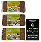 Mestemacher Organic Natural Whole Grain Bread 3 Flavor Variety (1) each: Rye and Spelt, Whole Rye, Sunflower Seed (17.6 Ounces) Plus Recipe Booklet Bundle