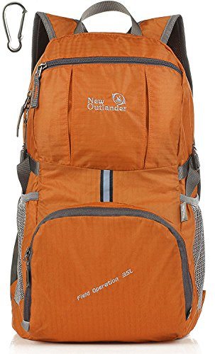 Outlander Packable Lightweight Travel Hiking Backpack Daypack (Orange, 35L)