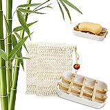 Shengruili Bandeja de Jabón para Ducha,Caja de Jabón,Jabonera de Madera Natural Bambú,Caja de Jabón Madera Portátil para Baño Viaje Cocina,Jabonera de Bambú,Jaboneras de Madera Natural (3)