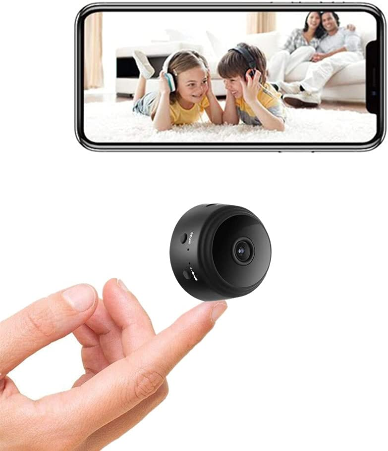 wisdomspot Mini Camera WiFi Wireless Video Camera 1080P HD Small Home Security Surveillance Cameras,Portable Tiny Night Vision and Motion Detection Nanny cams Wireless with Cell Phone app