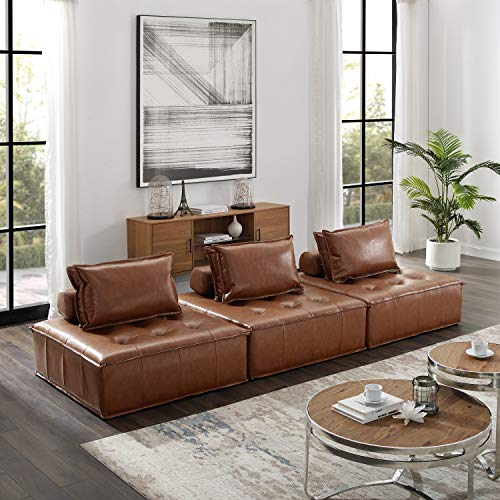 Volans Sectional Sofa, Mid Century Modern Leather Upholstered Square Modular Sectional Sofa Couch with Two Removable Non-Slip Pillows, Living Room Sofa Set, Congac(3 PCS)