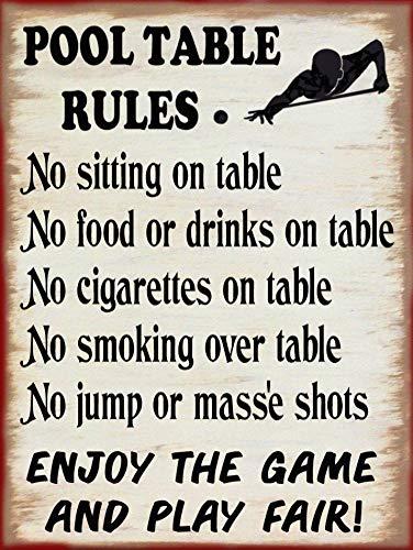 Neti6rns Holzschild für Billardtisch, Regeln, Barkeeper, Billard, Bar, Kneipe, Heimdekoration