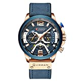 Mens Watches,CURREN Watches Quartz Analog Calendar,Wrist Watch for Men, Fashion Waterproof Watch with Leather Strap