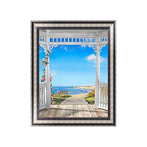 Kit de pintura de diamante para bricolaje, cenador de The Sea Blue Sky 5D, pintura de diamante, arte perfecto para relajarse y decoración de pared del hogar, 30 x 39,9 cm