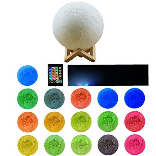 LEDMOMO Nachtlicht LED 3D Printing Earth Moon Lampe Fernbedienung und Touch Control und Adjust Helligkeit Startseite Dekorative Lichter Baby Night Light für kreative Geschenk Remote + Touch Größe-18CM