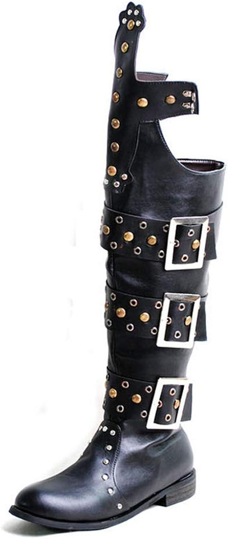 Gräv hundben Man's Mode Över Knee höga stövlar PU läder läder läder Side Zipper Rivet och Buckle Decoration Poäng Romanesk Style stövlar  välkommen att köpa