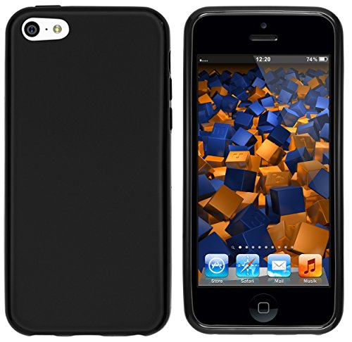 mumbi Hülle kompatibel mit iPhone 5C Handy Case Handyhülle, matt schwarz
