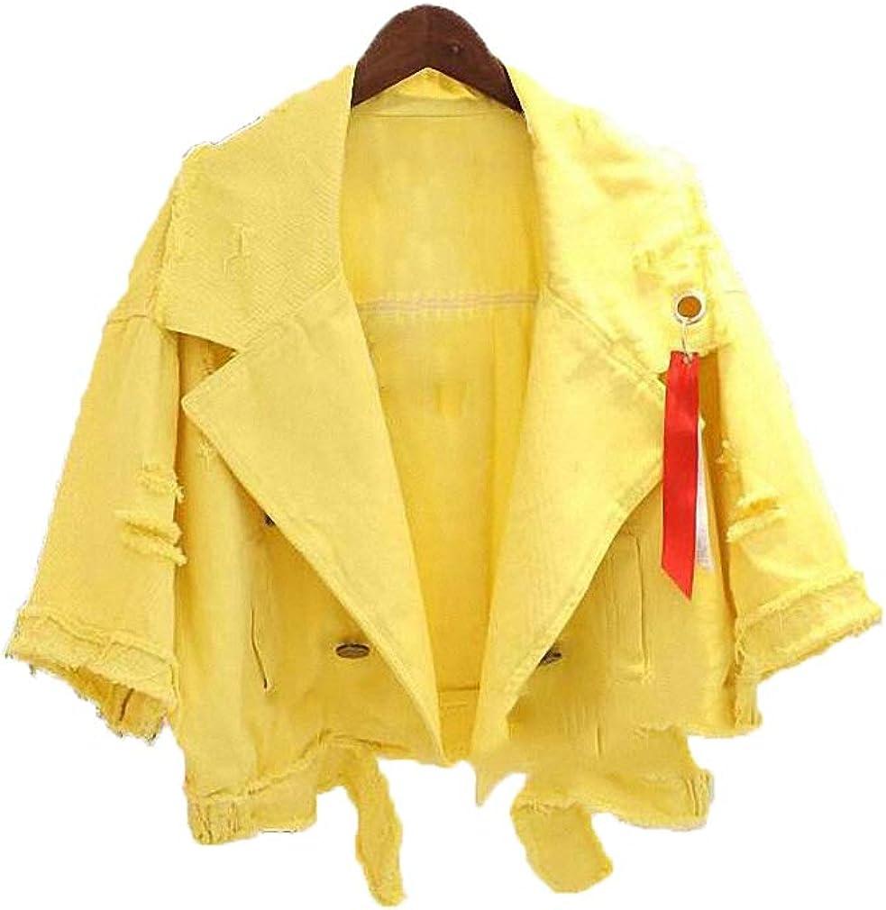 Hiuwa Womens Denim Jacket Short Lapel Hole Ripped Ribbon Loose Outwear