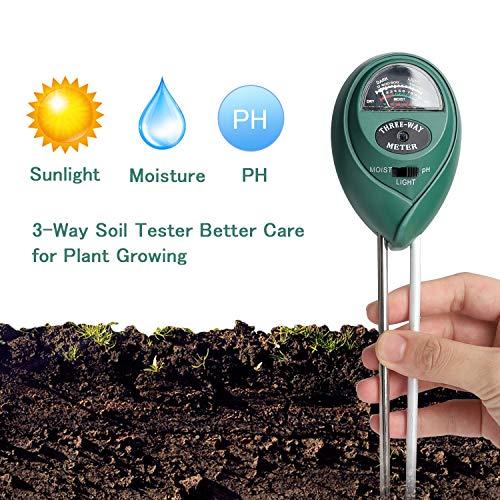 Soil Test Kit,Besmon 3-in-1 Soil Ph Meter,Soil Moisture Meter Indoor/Outdoor Plant Care Soil Tester Light and PH MeterFor Plant