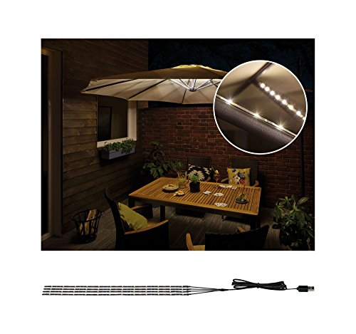 Paulmann 942.08 Outdoor Mobile Parasol-Lighting IP44 3000 K 4 X 0,4 m Lampada Decorativa per ombrellone Strisce LED 0.1 W, Nero, 40 x 0.5 x 0.3 cm