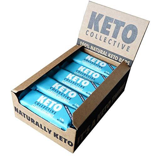 Keto Collective Wholefood Keto Bars I 15x40g I Classic Coconut l 3g Net Carbs I I Low carb I High Fibre I Natural Ingredients I Perfect Fuel for a Keto Lifestyle I Gluten Free I Vegan