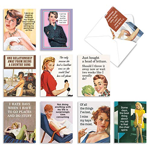 The Best Card Company - 10 Blank Funny Greeting Cards for Women (4 x 5.12 Inch) - Boxed All Occasion Assortment - Hot Mess M6622OCB