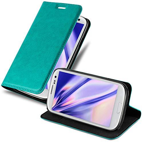 Cadorabo Custodia Libro per Samsung Galaxy S3 / S3 Neo in Turchese Petrolio – con Vani di Carte, Funzione Stand e Chiusura Magnetica – Portafoglio Cover Case Wallet Book Etui Protezione