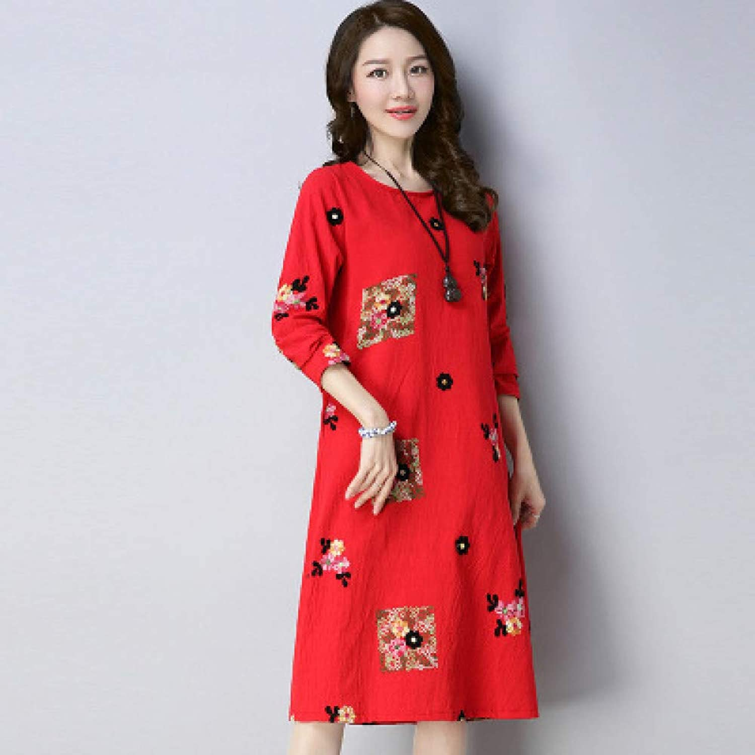 Cxlyq Dresses Women's Long Sleeves Dress Slim Long Section Embroidered A Word Skirt Women's Clothing