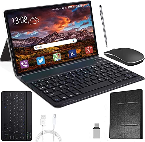 10 Inch Tablet Android 10.0 4GB RAM 64GB ROM + 128GB Expanded with IPS Screen HD Quad Core 1.6GHz Dual LTE SIM Tablets with WIFI   8000mAh   Bluetooth   GPS   with Keyboard and Mouse (Black)