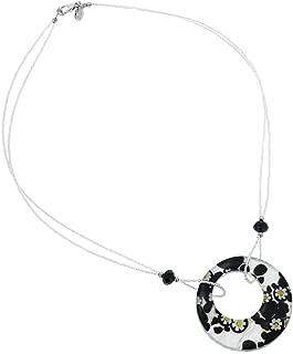 GlassOfVenice Murano Glass Lava Necklace - Silver Black