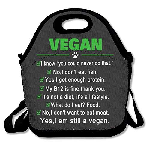 Vegano divertido Todavía soy un vegano Almuerzo Bolsas de viaje Picnic de viaje Lonchera aislada con correa para el hombro para mujeres Adolescentes Niñas Adultos