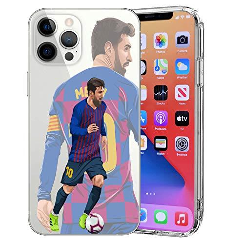 MIM Global Fußball-Schutzhülle, kompatibel mit allen iPhone 12/12 Pro, King L.Messi)
