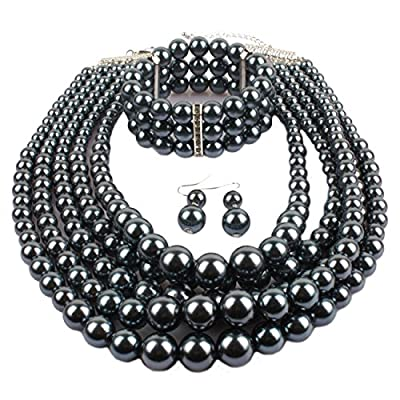 Gogoboi 3Pcs Multi Strand Simulated Pearl Necklace+Bracelet+Earrings Costume Jewelry Sets for Women