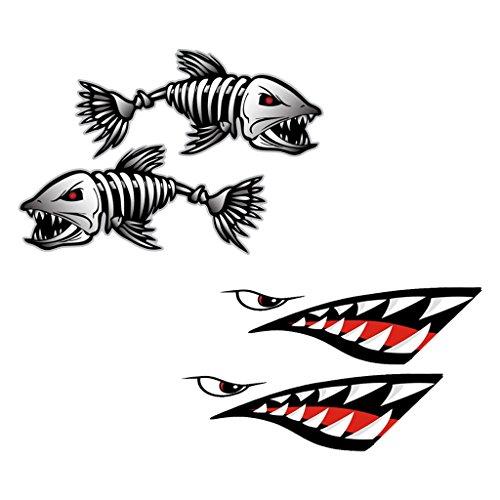 MagiDeal 2pcs Bouche & Dents de Requin Autocollants Décalque de Vinyle + 2pcs Poissons Squelette Autocollant Sticker Imperméable Pour Bateau Canoë Kayak