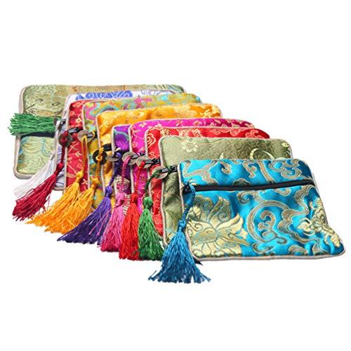 Holibanna - 10 unidades de bolsas de regalo de estilo chino, joyas para monedas, cambio de dinero, bolsa de almacenamiento de cuentas con borla larga (mezcladas)