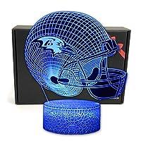2BANANAS Helmet Shape 3D Optical Illusion Smart 7 Colors Night Light Table Lamp Gifts for Ravens Fans, Men, Women, Kids, Boys, Teens