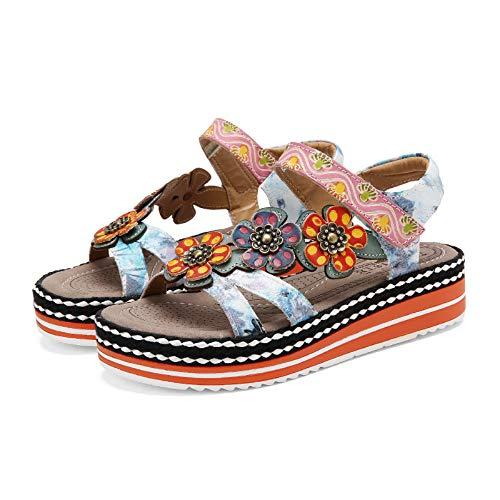 gracosy Sandalias para Mujer Bohemia Verano Plataforma Sandalias Retro Punta Casual Sandalias Antideslizante Zapatos de Playa Hechas a Mano Azul
