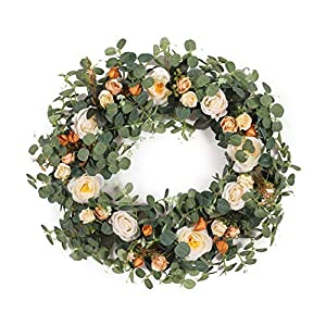 Noomer Green Eucalyptus Camellia Wreath with Rose Flower,Artificial Eucalyptus Leaves Wreath Spring/Summer Greenery Wreath for Front Door Wall Window Decor Festive Celebration Garland