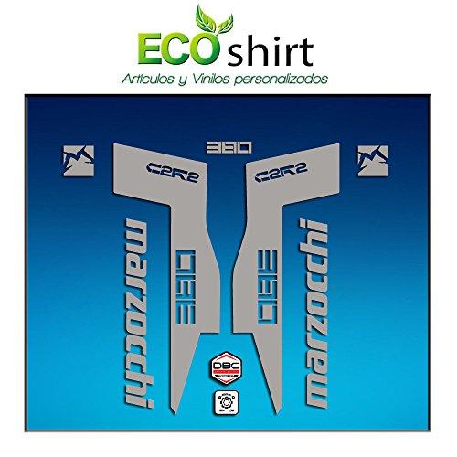 Ecoshirt XZ-FABI-VWVS Autocollants Fork Marzocchi 380 C2Rc Am71 Aufkleber Decals Autocollants Fourche Gabel Fourche Argenté